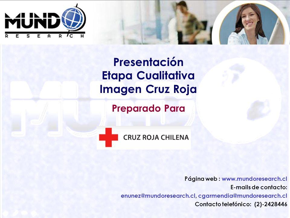 27 Preparado Para Presentación Etapa Cualitativa Imagen Cruz Roja Página web : www.mundoresearch.cl E-mails de contacto: enunez@mundoresearch.cl, cgar