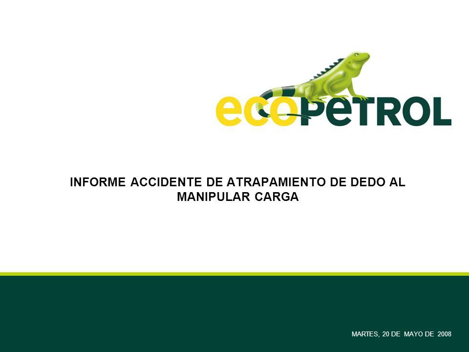 INFORME ACCIDENTE DE ATRAPAMIENTO DE DEDO AL MANIPULAR CARGA MARTES, 20 DE MAYO DE 2008
