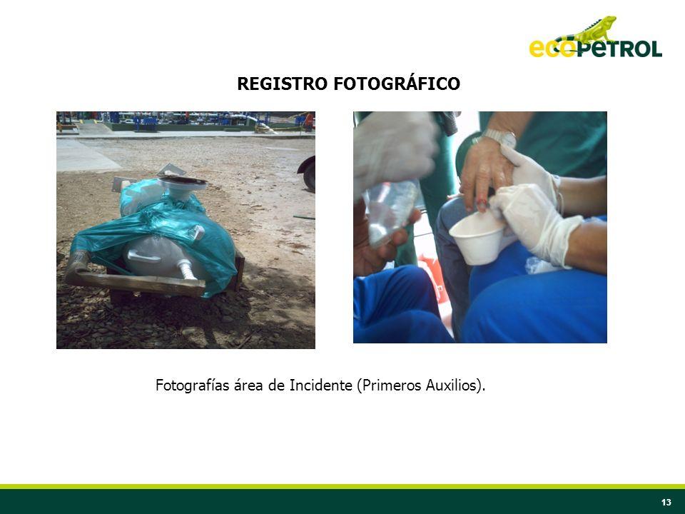 13 REGISTRO FOTOGRÁFICO Fotografías área de Incidente (Primeros Auxilios).