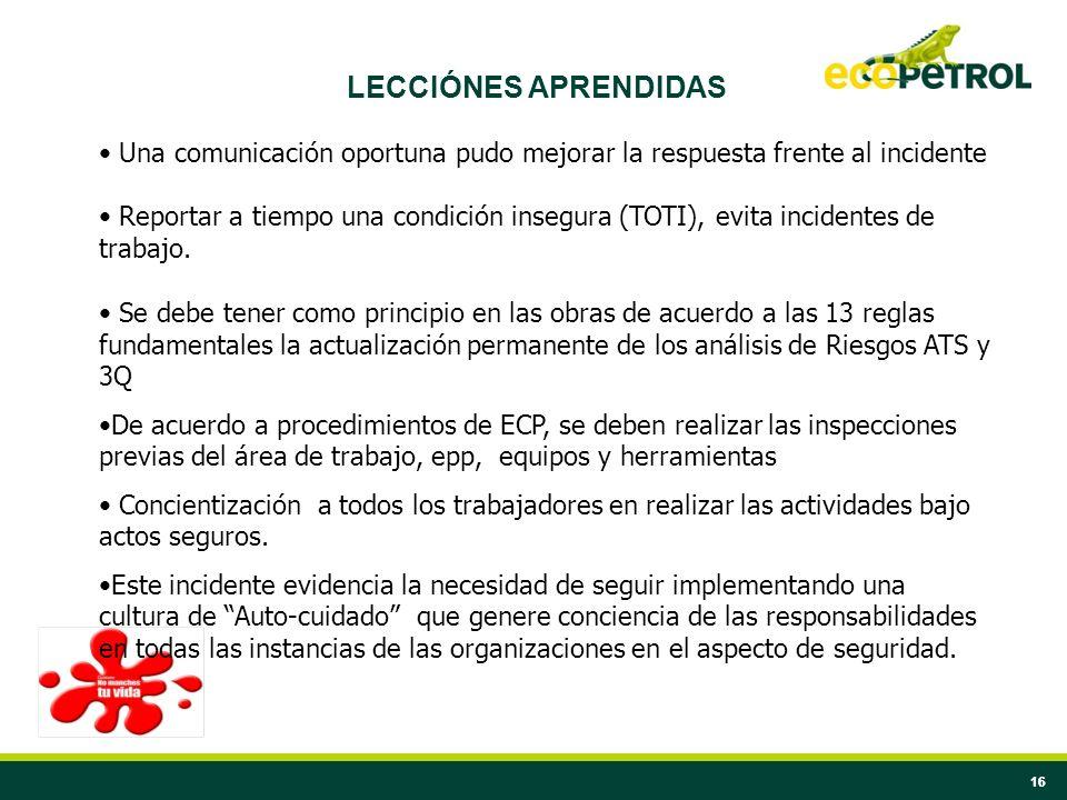16 LECCIÓNES APRENDIDAS Una comunicación oportuna pudo mejorar la respuesta frente al incidente Reportar a tiempo una condición insegura (TOTI), evita