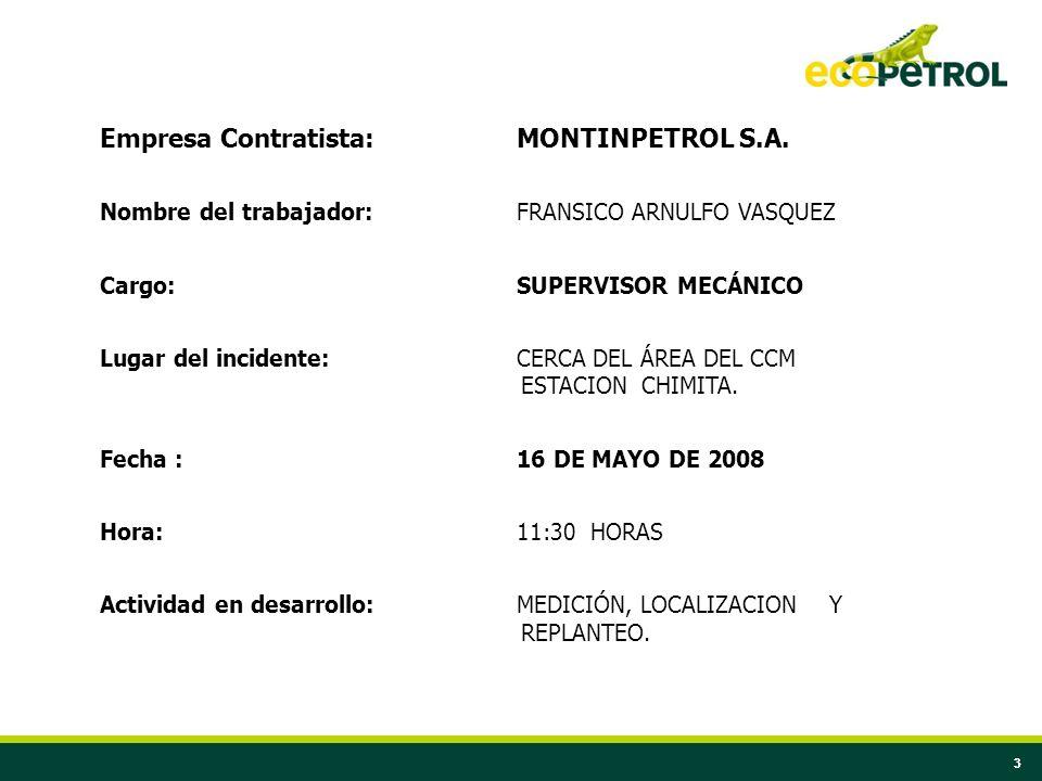 33 Empresa Contratista:MONTINPETROL S.A. Nombre del trabajador:FRANSICO ARNULFO VASQUEZ Cargo:SUPERVISOR MECÁNICO Lugar del incidente:CERCA DEL ÁREA D