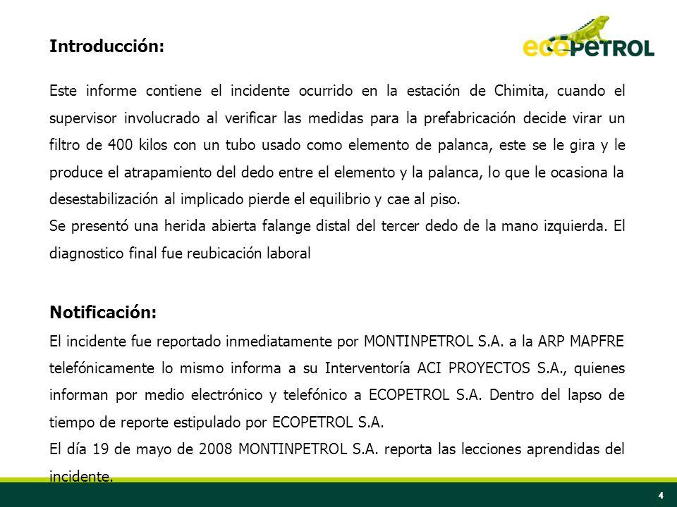 44 Introducción: Este informe contiene el incidente ocurrido en la estación de Chimita, cuando el supervisor involucrado al verificar las medidas para