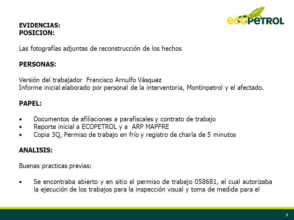 77 EVIDENCIAS: POSICION: Las fotografías adjuntas de reconstrucción de los hechos PERSONAS: Versión del trabajador Francisco Arnulfo Vásquez Informe i