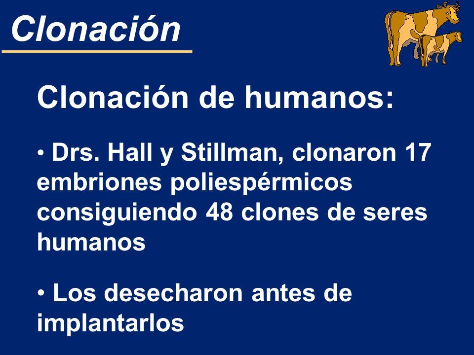 Clonación Clonación de humanos: Drs. Hall y Stillman, clonaron 17 embriones poliespérmicos consiguiendo 48 clones de seres humanos Los desecharon ante