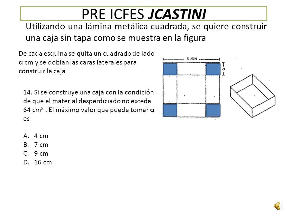 PRE ICFES JCASTINI Utilizando una lámina metálica cuadrada, se quiere construir una caja sin tapa como se muestra en la figura De cada esquina se quita un cuadrado de lado a cm y se doblan las caras laterales para construir la caja 14.