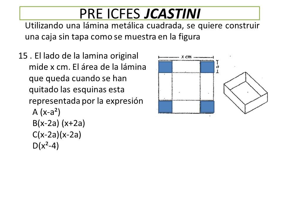 PRE ICFES JCASTINI Utilizando una lámina metálica cuadrada, se quiere construir una caja sin tapa como se muestra en la figura 15.