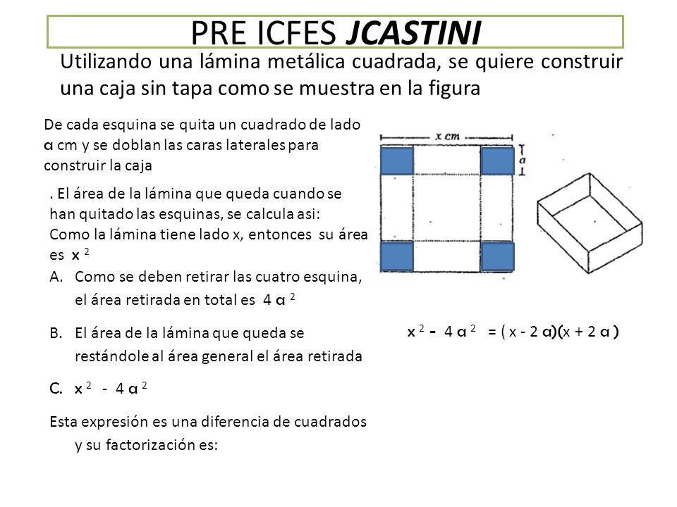 PRE ICFES JCASTINI Utilizando una lámina metálica cuadrada, se quiere construir una caja sin tapa como se muestra en la figura De cada esquina se quita un cuadrado de lado a cm y se doblan las caras laterales para construir la caja.