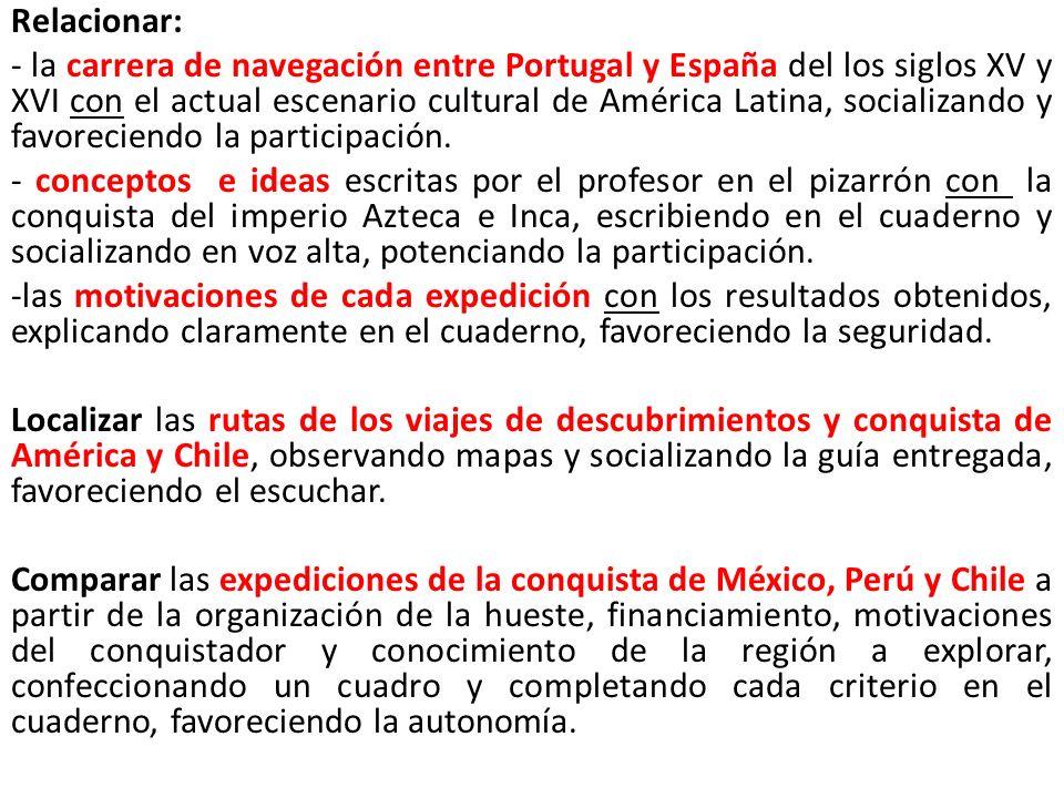 Relacionar: - la carrera de navegación entre Portugal y España del los siglos XV y XVI con el actual escenario cultural de América Latina, socializand