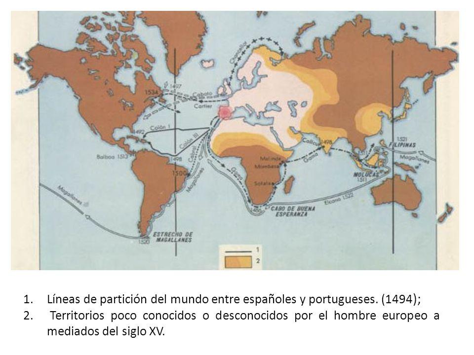 1.Líneas de partición del mundo entre españoles y portugueses. (1494 ); 2. Territorios poco conocidos o desconocidos por el hombre europeo a mediados