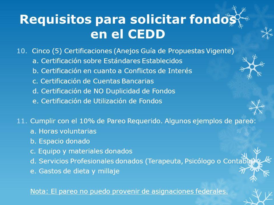 Requisitos para solicitar fondos en el CEDD 10.Cinco (5) Certificaciones (Anejos Guía de Propuestas Vigente) a. Certificación sobre Estándares Estable