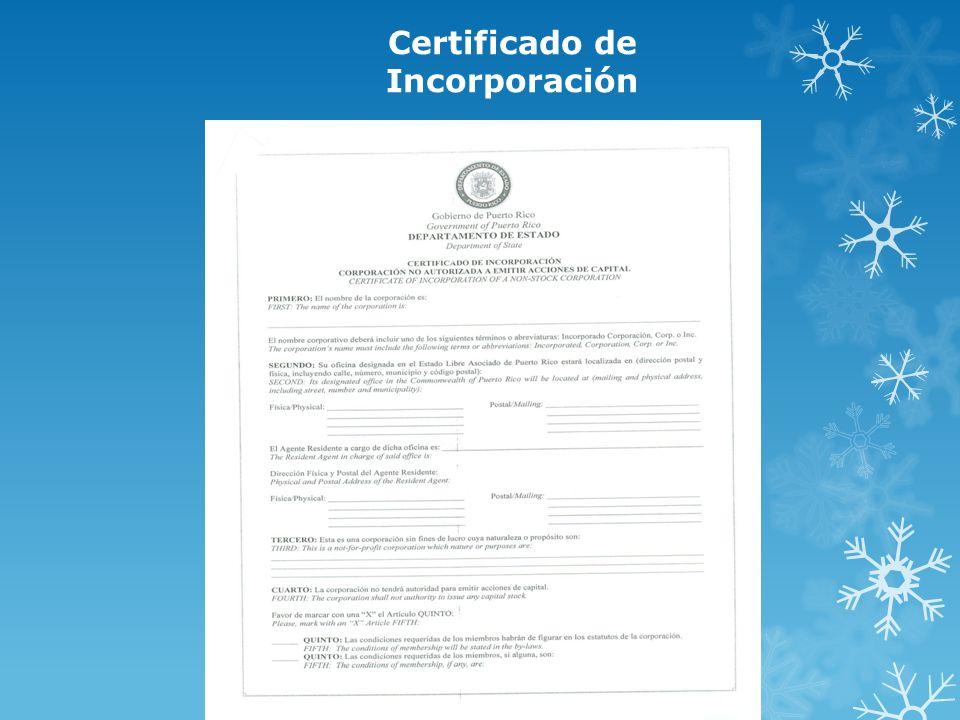 Certificado de Incorporación