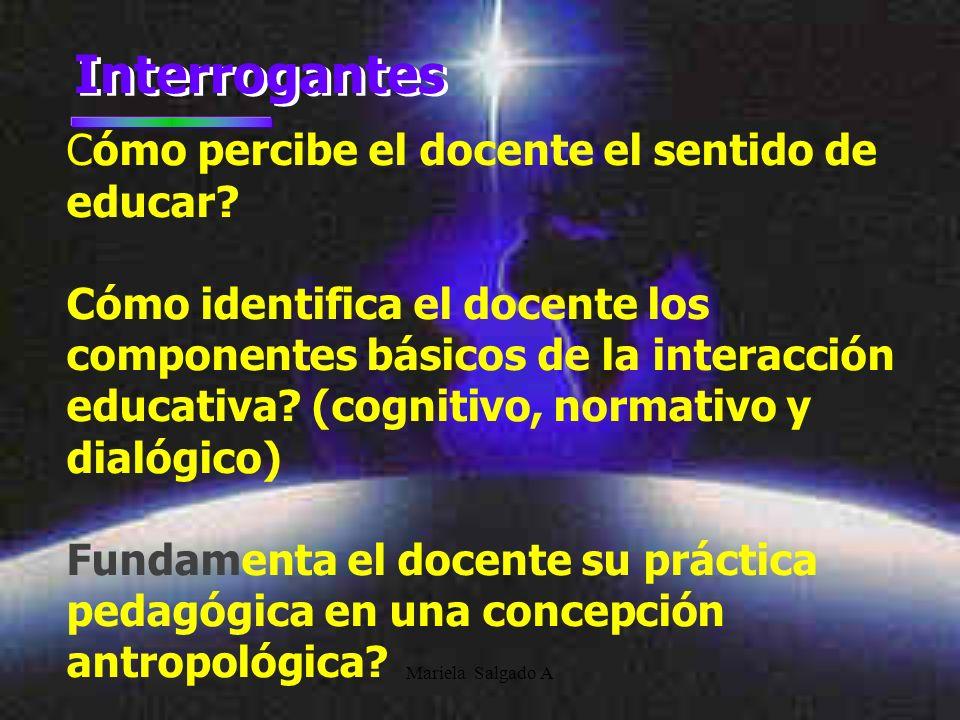 Mariela Salgado A Interrogantes Cómo percibe el docente el sentido de educar? Cómo identifica el docente los componentes básicos de la interacción edu
