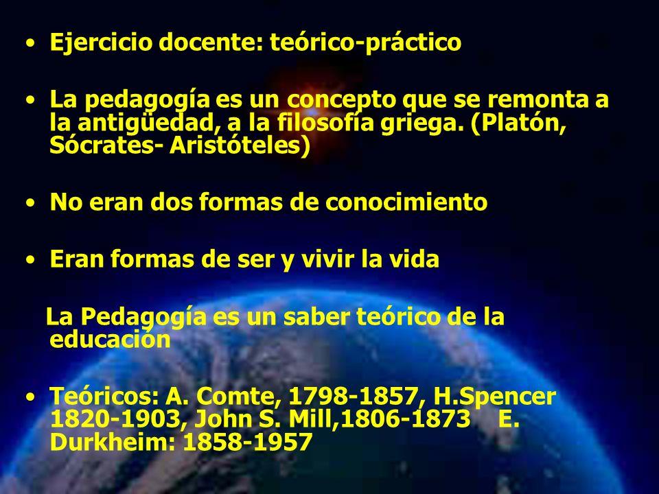Mariela Salgado A Ejercicio docente: teórico-práctico La pedagogía es un concepto que se remonta a la antigüedad, a la filosofía griega. (Platón, Sócr
