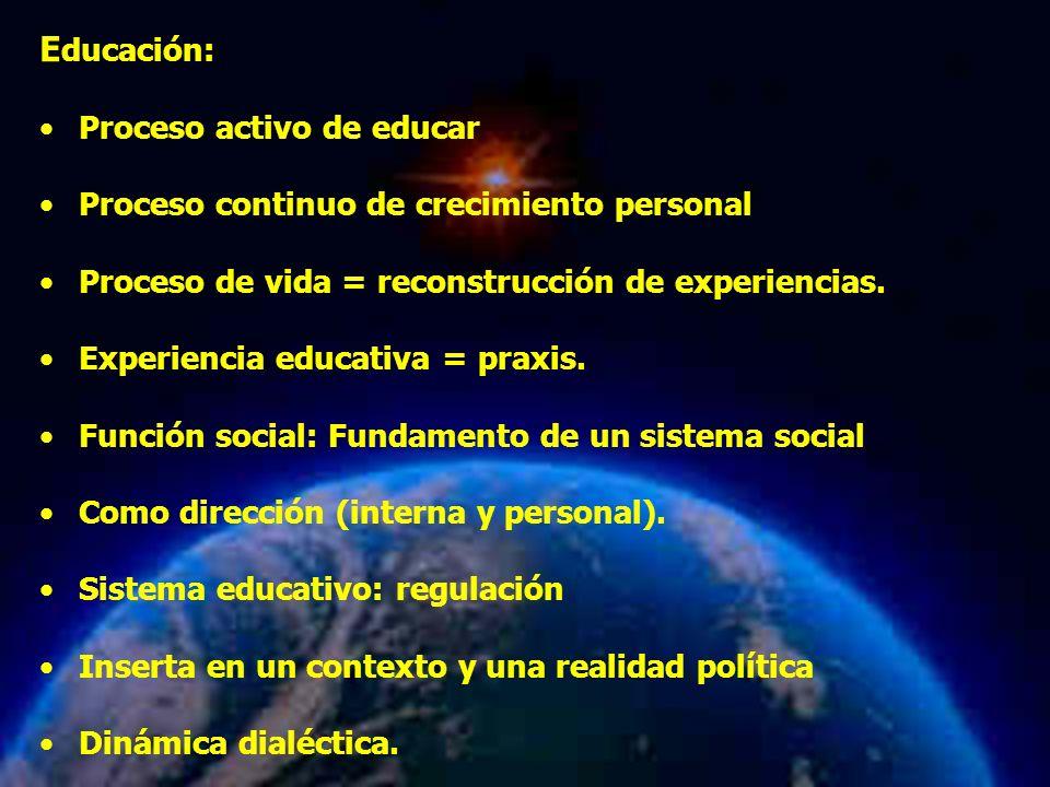 Mariela Salgado A E ducación: Proceso activo de educar Proceso continuo de crecimiento personal Proceso de vida = reconstrucción de experiencias. Expe