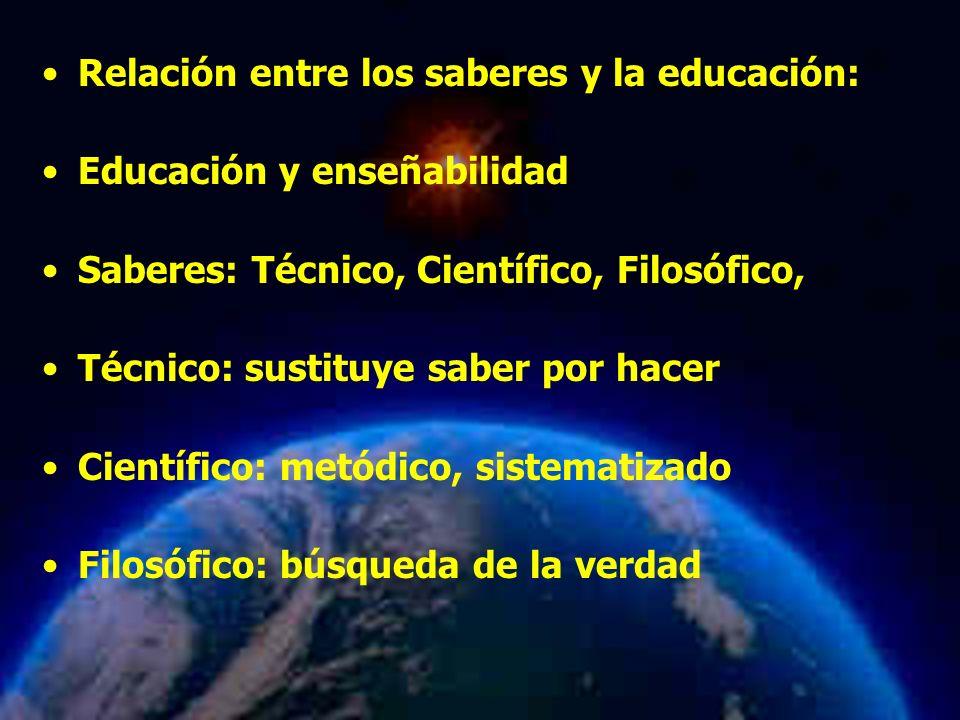Mariela Salgado A Relación entre los saberes y la educación: Educación y enseñabilidad Saberes: Técnico, Científico, Filosófico, Técnico: sustituye saber por hacer Científico: metódico, sistematizado Filosófico: búsqueda de la verdad
