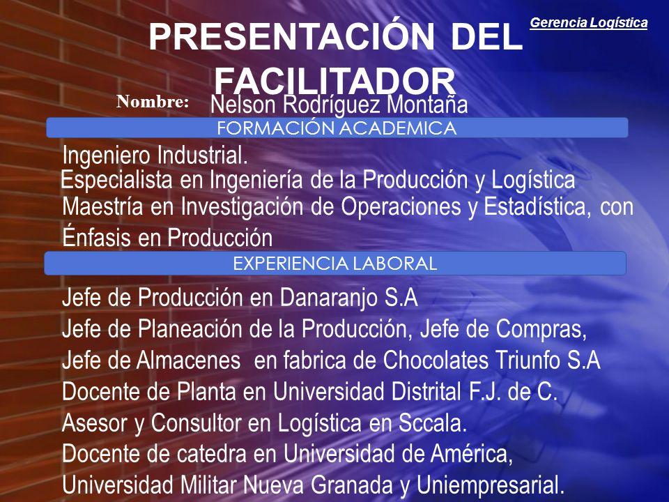 Gerencia Logística FORMACIÓN ACADEMICA EXPERIENCIA LABORAL Nombre: PRESENTACIÓN DEL FACILITADOR Nelson Rodríguez Montaña Especialista en Ingeniería de