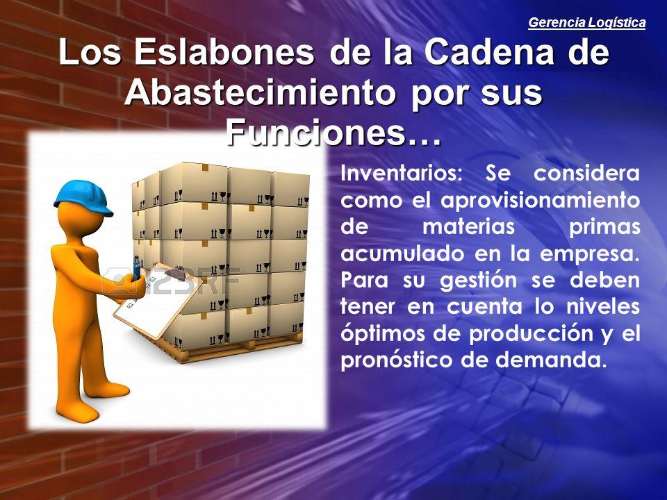 Gerencia Logística Los Eslabones de la Cadena de Abastecimiento por sus Funciones… Inventarios: Se considera como el aprovisionamiento de materias pri