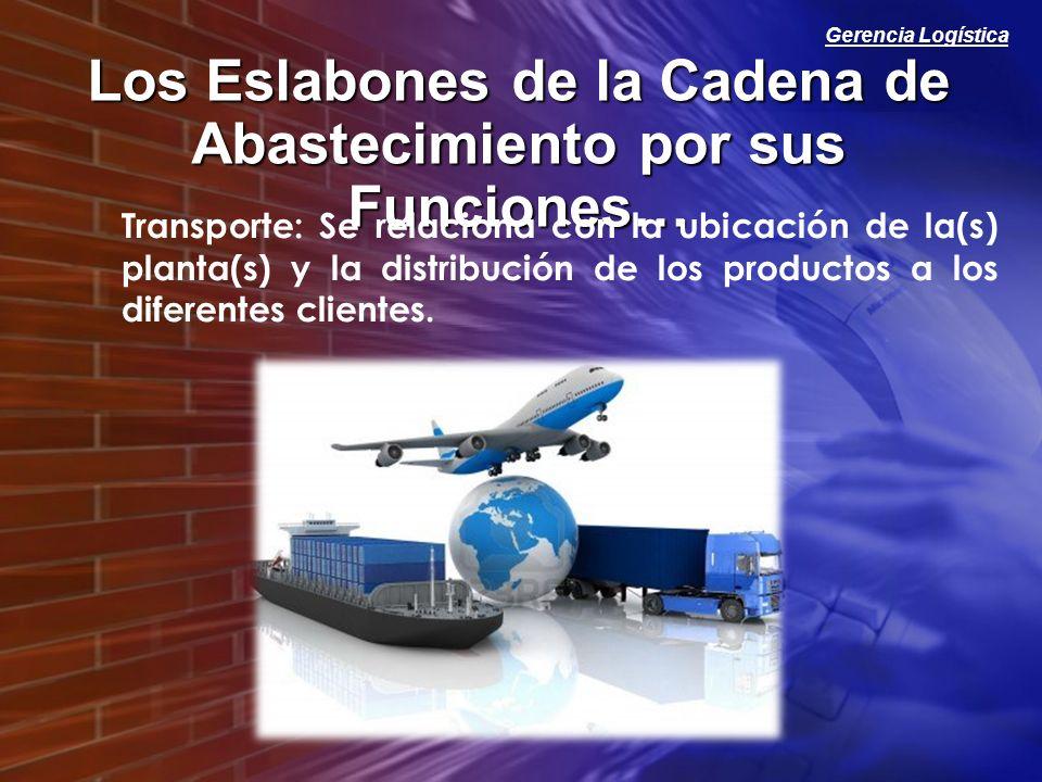 Gerencia Logística Los Eslabones de la Cadena de Abastecimiento por sus Funciones… Transporte: Se relaciona con la ubicación de la(s) planta(s) y la d