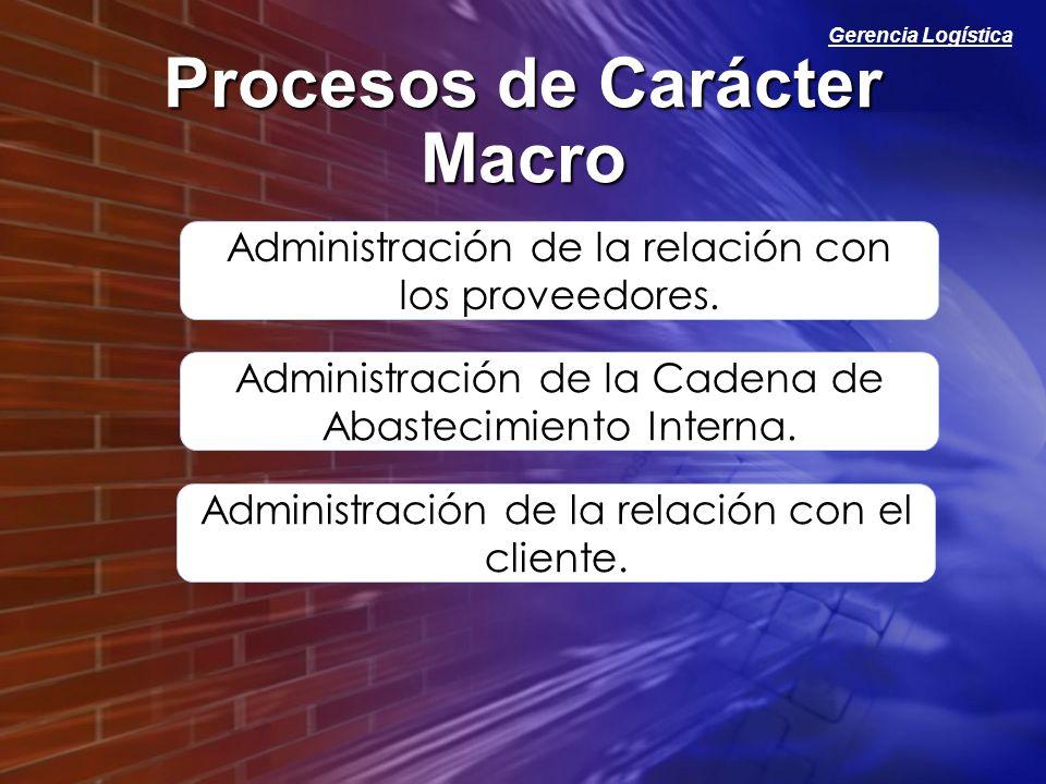 Gerencia Logística Procesos de Carácter Macro Administración de la relación con los proveedores. Administración de la Cadena de Abastecimiento Interna