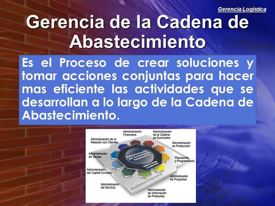 Gerencia Logística Gerencia de la Cadena de Abastecimiento Es el Proceso de crear soluciones y tomar acciones conjuntas para hacer mas eficiente las a