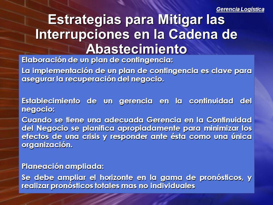 Gerencia Logística Estrategias para Mitigar las Interrupciones en la Cadena de Abastecimiento Elaboración de un plan de contingencia: La implementació