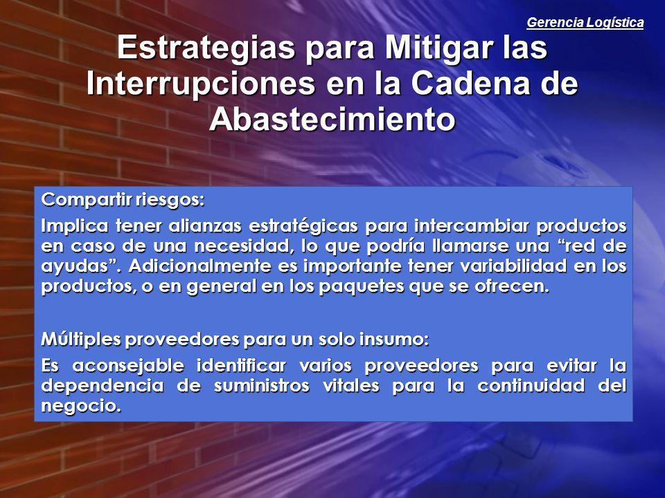 Gerencia Logística Estrategias para Mitigar las Interrupciones en la Cadena de Abastecimiento Compartir riesgos: Implica tener alianzas estratégicas p