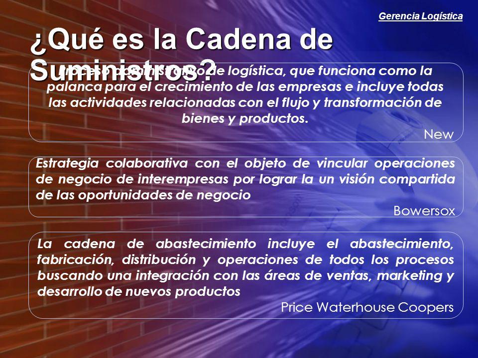 Gerencia Logística Gerencia de la Cadena de Abastecimiento Es el Proceso de crear soluciones y tomar acciones conjuntas para hacer mas eficiente las actividades que se desarrollan a lo largo de la Cadena de Abastecimiento.