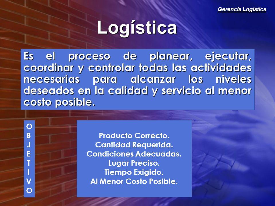 Gerencia Logística Logística Es el proceso de planear, ejecutar, coordinar y controlar todas las actividades necesarias para alcanzar los niveles dese