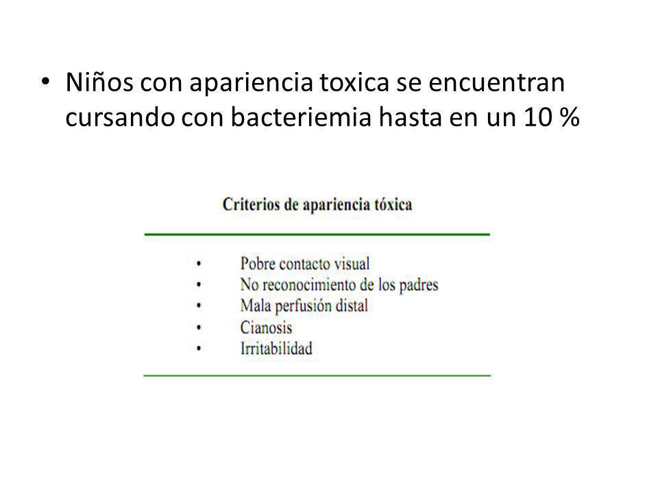 Niños con apariencia toxica se encuentran cursando con bacteriemia hasta en un 10 %