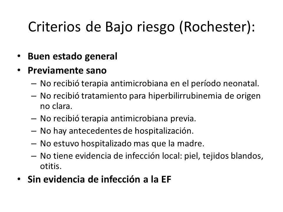 Criterios de Bajo riesgo (Rochester): Buen estado general Previamente sano – No recibió terapia antimicrobiana en el período neonatal. – No recibió tr