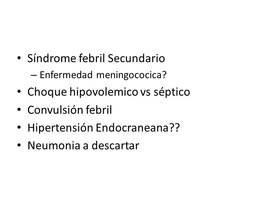 Síndrome febril Secundario – Enfermedad meningococica? Choque hipovolemico vs séptico Convulsión febril Hipertensión Endocraneana?? Neumonia a descart