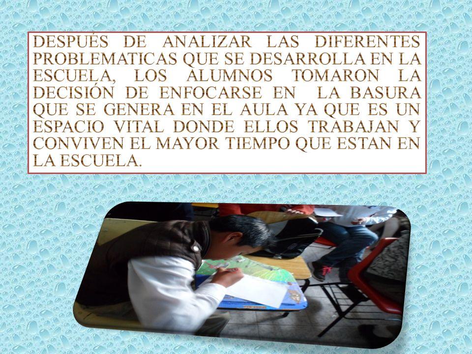 SEGUNDA ETAPA POR MEDIO DE UNA LLUVIA DE IDEAS LOS ALUMNOS DIERON PROPUESTAS PARA SOLUCIÓN DICHA PROBLEMÁTICA: CONCIENTIZAR A LOS ALUMNOS INVITARLOS A MANTENER SU SALON LIMPIO REALIZACIÓN DE CARTELES POR LOS ALUMNOS DE CADA AULA IMPLEMENTACIÓN DE UNA BOLSA DE PLÁSTICO POR CADA ALUMNO DONDE COLOCARÁN SU BASURA QUE GENEREN LAS CLASES Y LLEVARSELA A SU CASA.