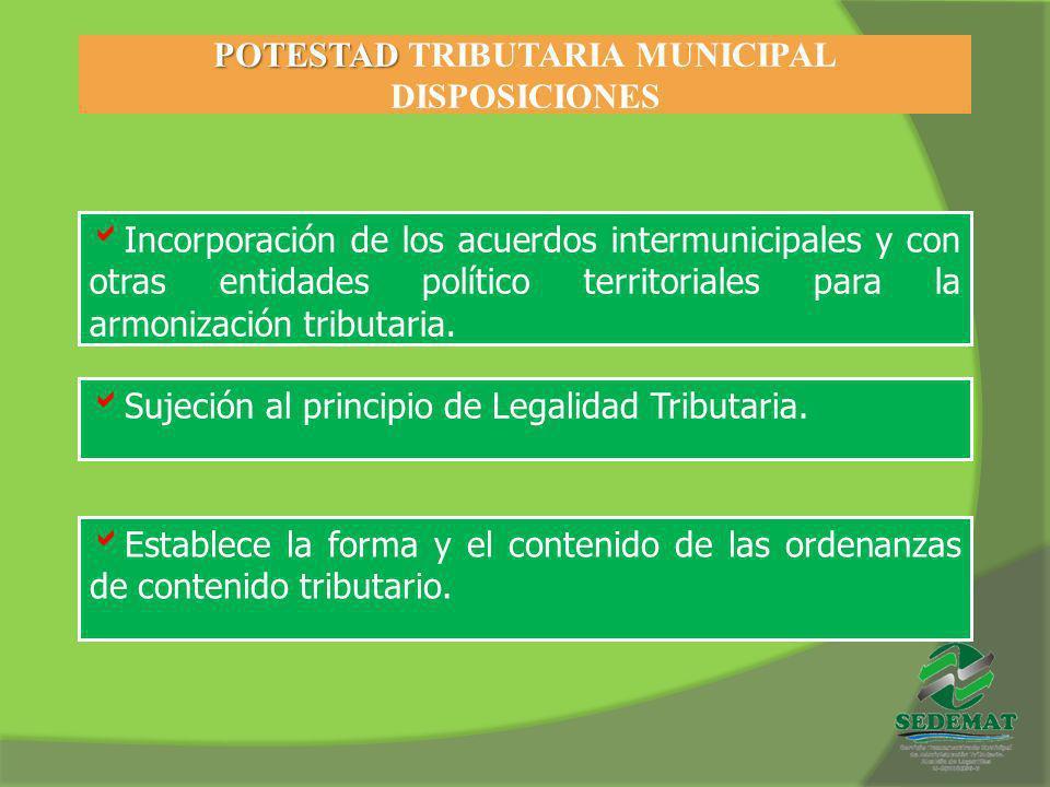 POTESTAD POTESTAD TRIBUTARIA MUNICIPAL DISPOSICIONES Incorporación de los acuerdos intermunicipales y con otras entidades político territoriales para
