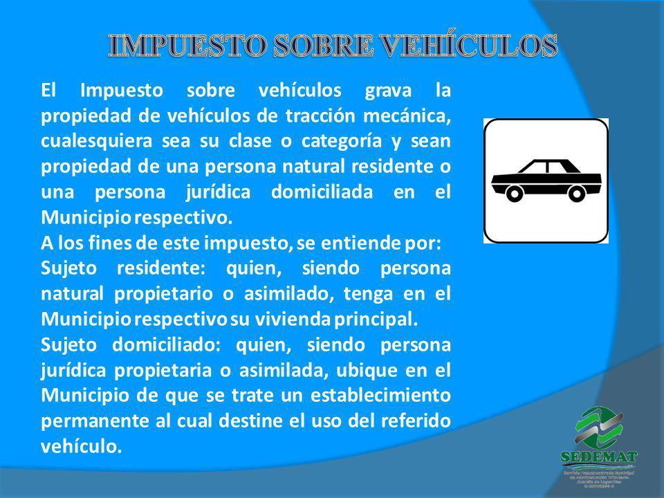El Impuesto sobre vehículos grava la propiedad de vehículos de tracción mecánica, cualesquiera sea su clase o categoría y sean propiedad de una person