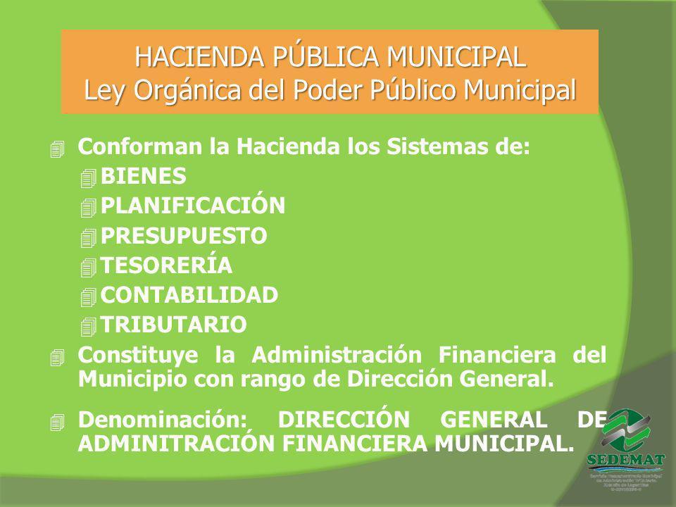 HACIENDA PÚBLICA MUNICIPAL Ley Orgánica del Poder Público Municipal 4 Conforman la Hacienda los Sistemas de: 4 BIENES 4 PLANIFICACIÓN 4 PRESUPUESTO 4