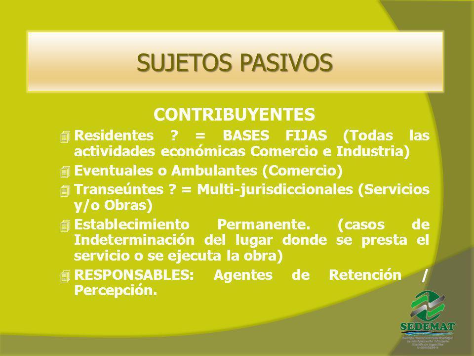 CONTRIBUYENTES 4 Residentes ? = BASES FIJAS (Todas las actividades económicas Comercio e Industria) 4 Eventuales o Ambulantes (Comercio) 4 Transeúntes