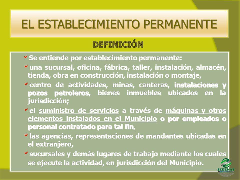 EL ESTABLECIMIENTO PERMANENTE Se entiende por establecimiento permanente: una sucursal, oficina, fábrica, taller, instalación, almacén, tienda, obra e