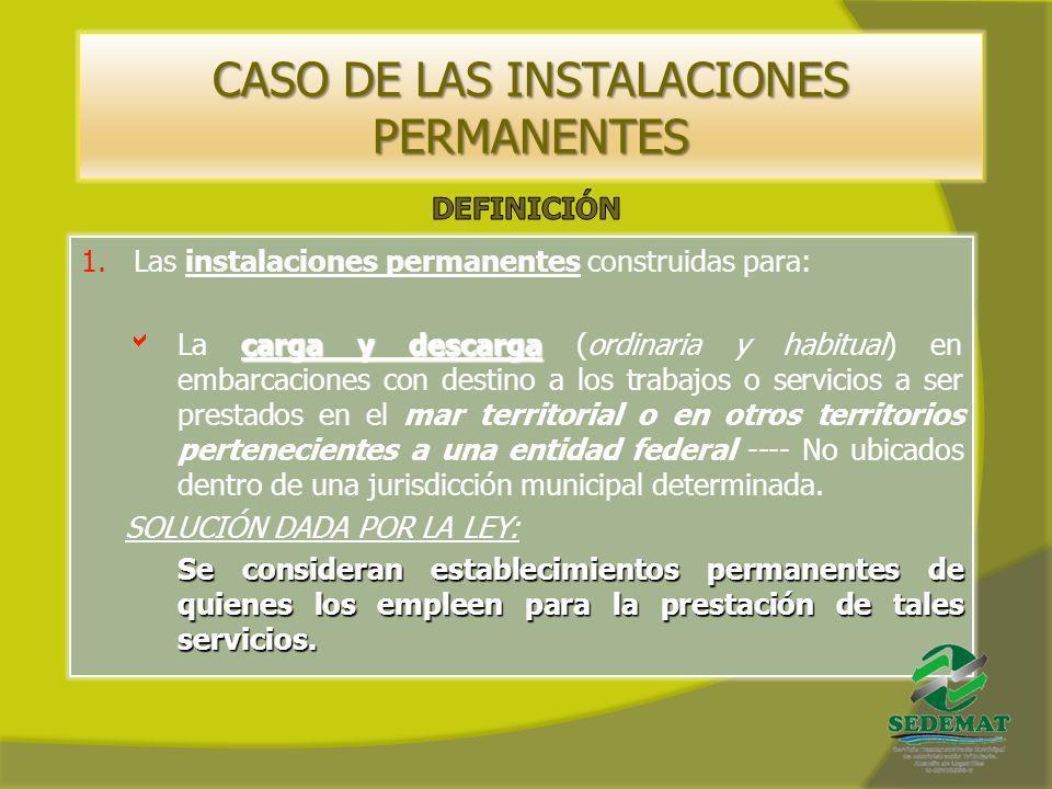 CASO DE LAS INSTALACIONES PERMANENTES 1.Las instalaciones permanentes construidas para: carga y descarga La carga y descarga (ordinaria y habitual) en