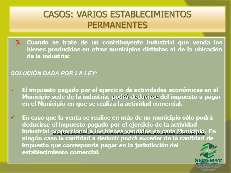 CASOS: VARIOS ESTABLECIMIENTOS PERMANENTES 3.Cuando se trate de un contribuyente industrial que venda los bienes producidos en otros municipios distin