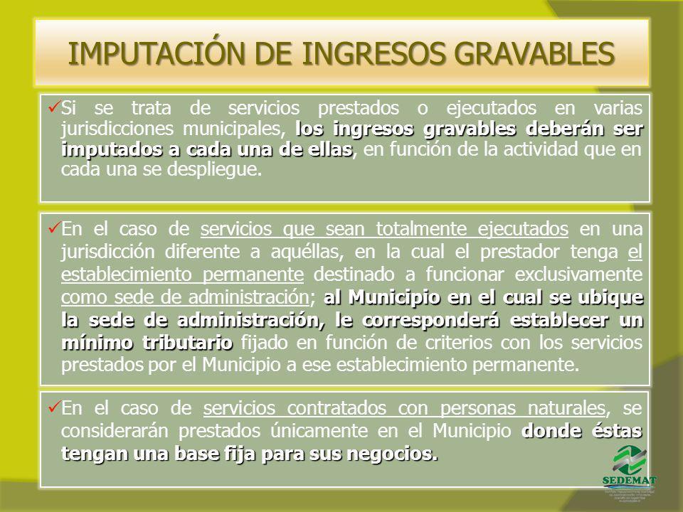IMPUTACIÓN DE INGRESOS GRAVABLES al Municipio en el cual se ubique la sede de administración, le corresponderá establecer un mínimo tributario En el c