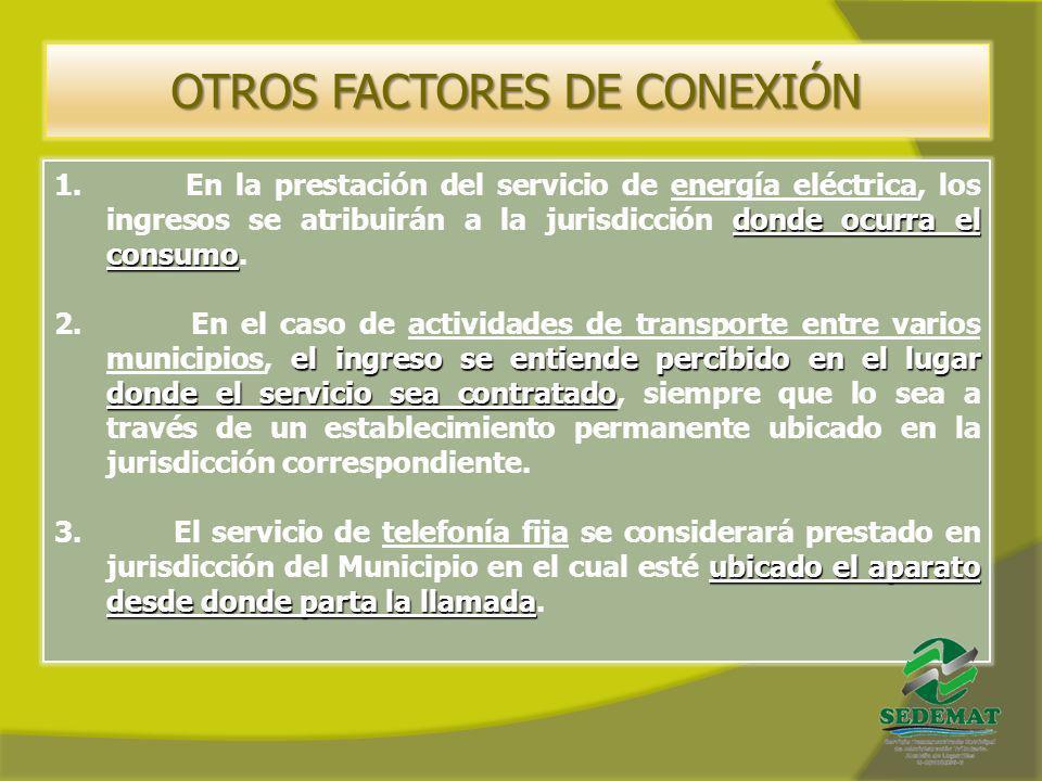 OTROS FACTORES DE CONEXIÓN donde ocurra el consumo 1. En la prestación del servicio de energía eléctrica, los ingresos se atribuirán a la jurisdicción