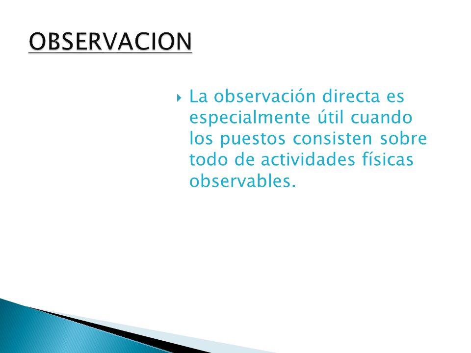 La observación directa es especialmente útil cuando los puestos consisten sobre todo de actividades físicas observables.