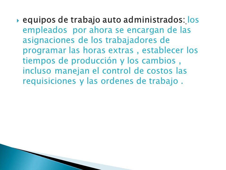 equipos de trabajo auto administrados: los empleados por ahora se encargan de las asignaciones de los trabajadores de programar las horas extras, esta