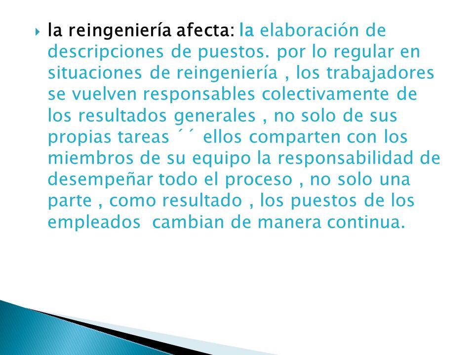 la reingeniería afecta: la elaboración de descripciones de puestos. por lo regular en situaciones de reingeniería, los trabajadores se vuelven respons