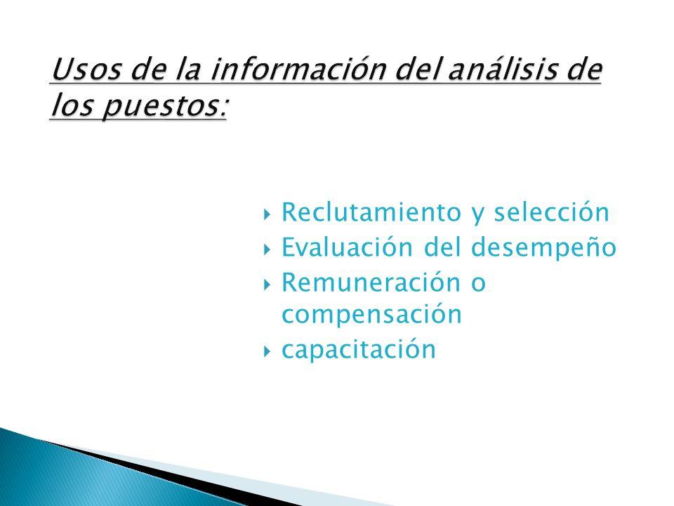 La especificación de puestos recurre a la descripción del mismo para responder la pregunta: ¿Cuáles rasgos humanos y experiencia se necesita para desempeñar bien este trabajo.