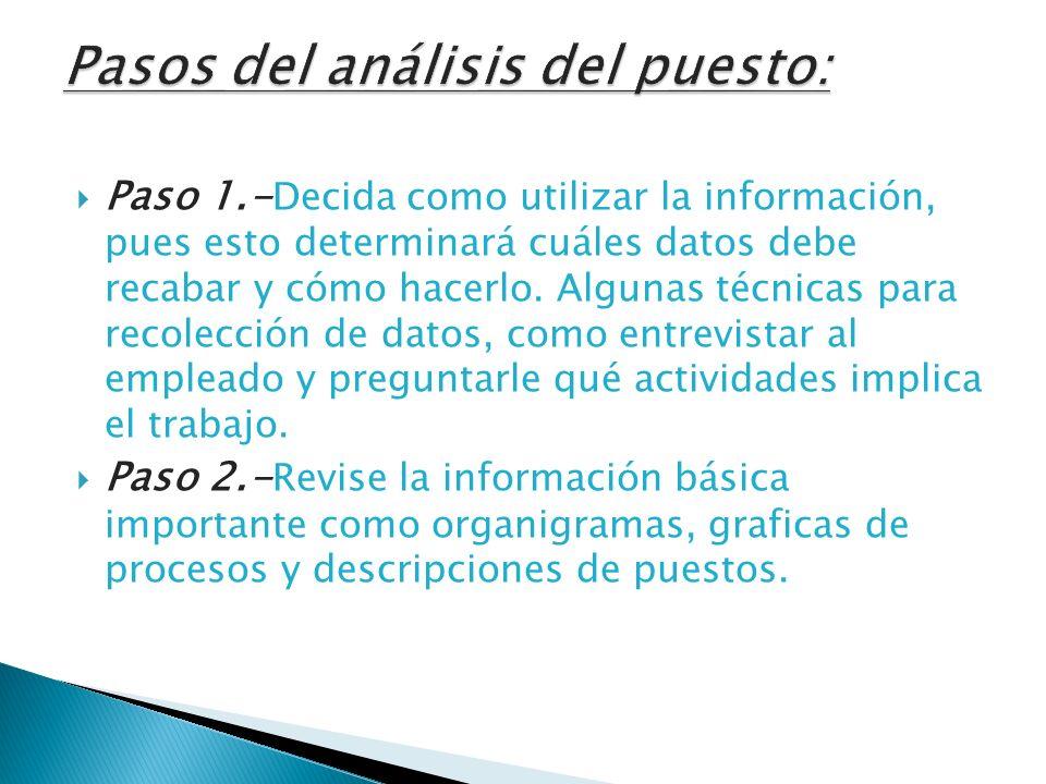 Paso 1.- Decida como utilizar la información, pues esto determinará cuáles datos debe recabar y cómo hacerlo. Algunas técnicas para recolección de dat