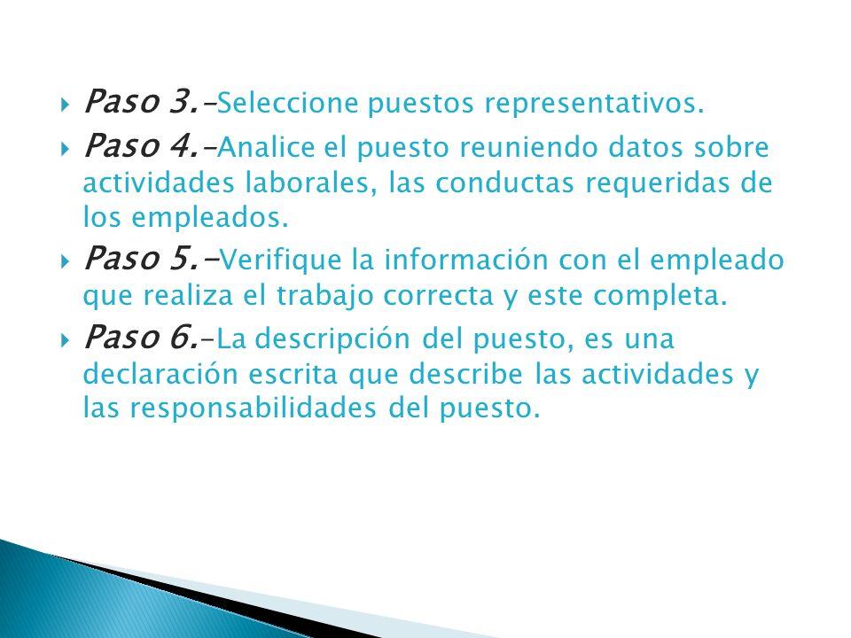 Paso 3. -Seleccione puestos representativos. Paso 4. -Analice el puesto reuniendo datos sobre actividades laborales, las conductas requeridas de los e