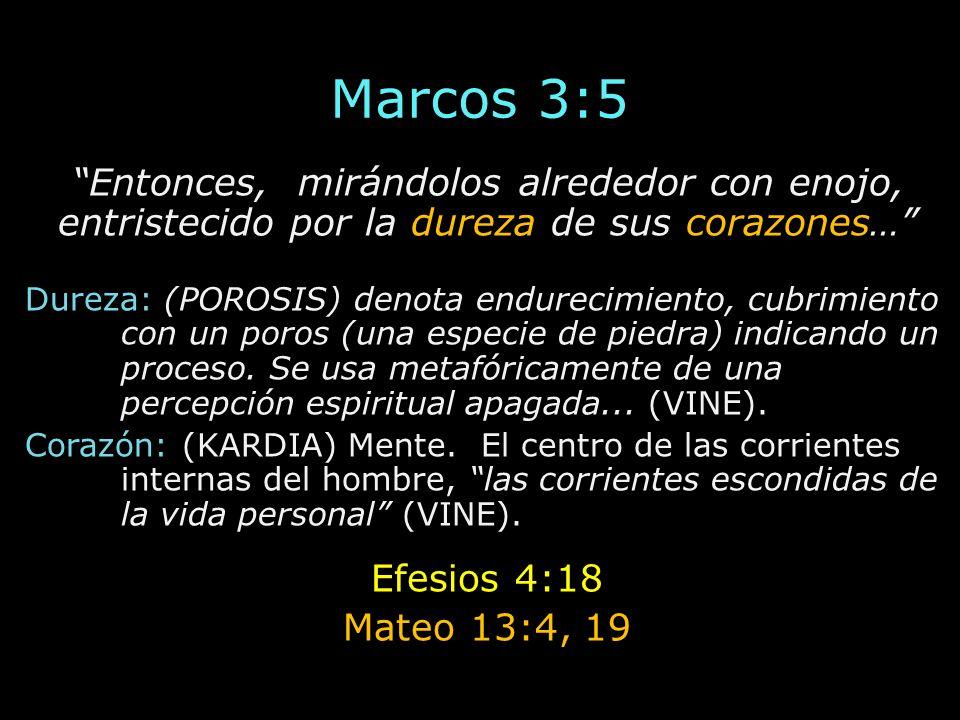 Marcos 3:5 Entonces, mirándolos alrededor con enojo, entristecido por la dureza de sus corazones… Dureza: (POROSIS) denota endurecimiento, cubrimiento