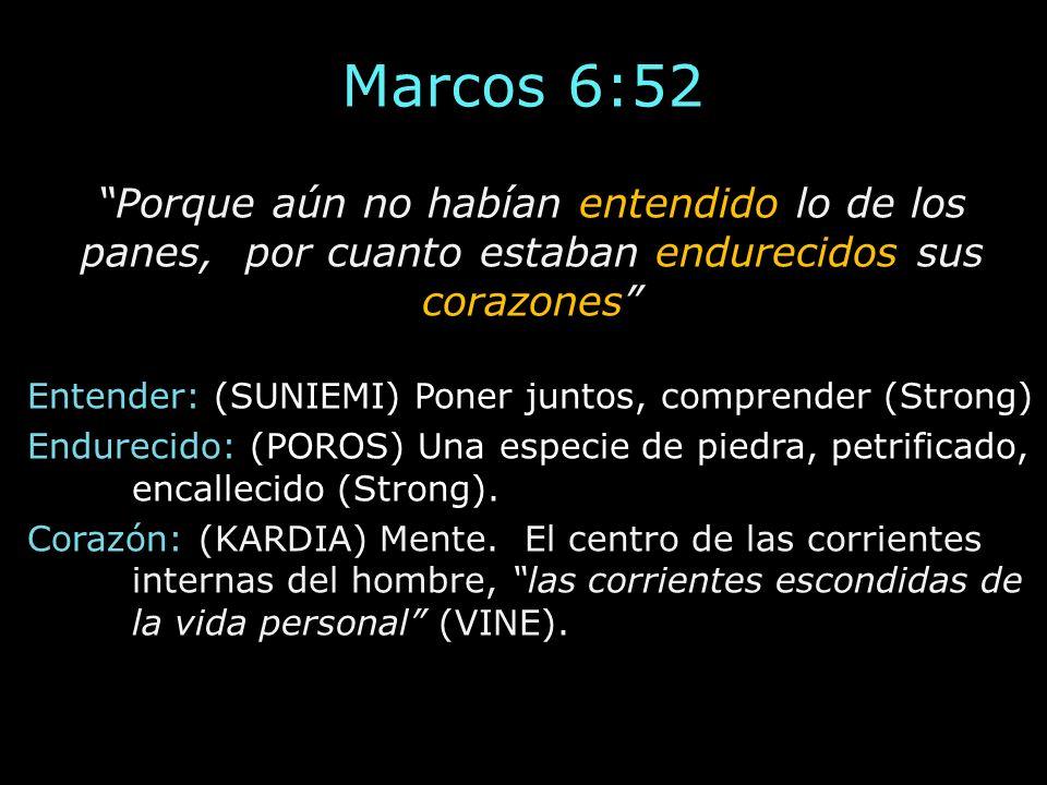 Marcos 6:52 Porque aún no habían entendido lo de los panes, por cuanto estaban endurecidos sus corazones Entender: (SUNIEMI) Poner juntos, comprender