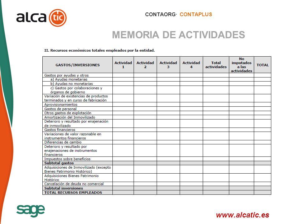 14 © 2008 Sage CONTAORG· CONTAPLUS MEMORIA DE ACTIVIDADES www.alcatic.es
